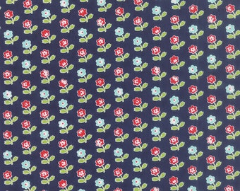 Bonnie Camille Floral Rosie Dark Blue  - 55121 16 - Bonnie Camille Vintage Picnic Navy - End of Bolt With A Bolt Buddie and Clip - 1 Yard