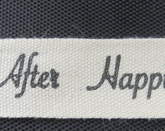 1/2 Inch Ivory Canvas Wedding Print - Happily Ever After Ribbon 100% Cotton - 3 Yards