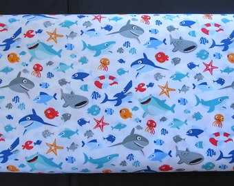 Riley Blake - C6351 - SHARKTOWN Sea Life Fabric - By Shawn Wallace - Two Tone Blue