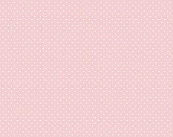 Riley Blake - White Swiss Dots on Pink fabric - C670 Baby Pink