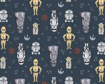 Blue Star Wars Doodle Figures  73010803-2 - Camelot Fabrics