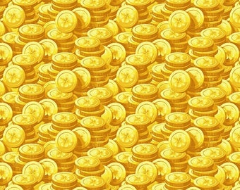 Pot Of Gold - Henry Glass - 9366-44 Yellow - Gold Coins