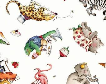 Riley Blake - Hungry Animal Alphabet Animal Toss Off White C10182