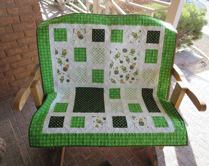 Featured listing image: Homemade - Irish Quilt / Saint Patrick's Day Quilt - Lucky Me