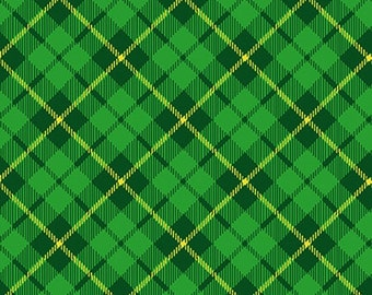 End of Bolt 3/4 Yard - Pot Of Gold - Henry Glass - 9370-66 Green - Diagonal Plaid