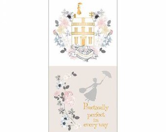 Camelot Licensed Fabric - Mary Poppins Multi Practically Perfect Half Panel - With Metalic - It's Supercalifragilisticexpialidocious!