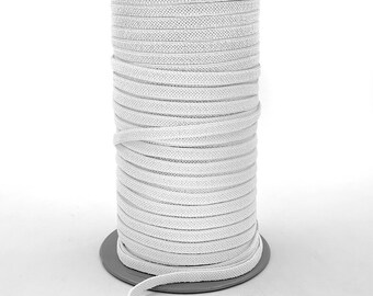 1/4 Inch (6MM) Flat White Elastic - Feels Softer Than Most Elastics - 109 Yards