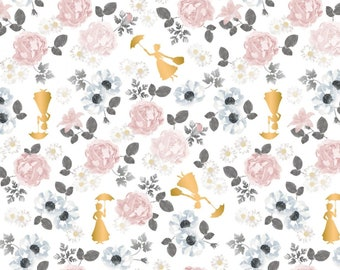 Camelot Licensed Fabric - Mary Poppins Blossom Metallic - 85460103LWhite - With Metalic - It's Supercalifragilisticexpialidocious!