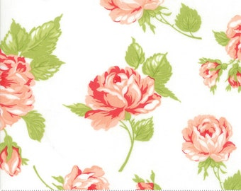 8.99 A Yard One Week Special - Bonnie Camille Smitten Fabric -  Floral Rosy Cream - 5517017