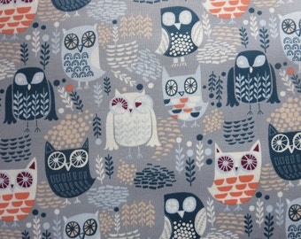 Grey Night Owls ST-578GRY- Dear Stella - The Big Chill by Dear Stella Collection In Animals, Bugs & Insects