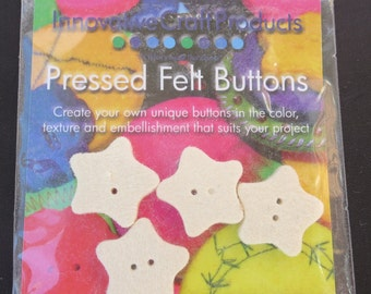 100% Wool, Pressed Felt Buttons - 4 Pack of Stars