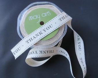 """May Arts Ivory and Black 3/4"""" Canvas Print Ribbon - Thank you 3 Yards"""