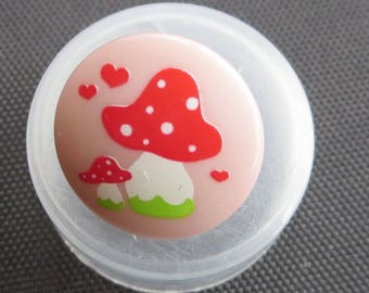 Tante Ema Toadstool Designer Buttons - 20 Buttons Approximately 1 cm Wide