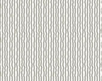 Riley Blake - Hungry Animal Alphabet Wavy Stripe Charcoal C10188