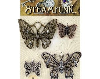 Steampunk Metal Accents by Solid Oak - Butterflies- 4 Pieces - 963446 - Assorted Size - STEAM011