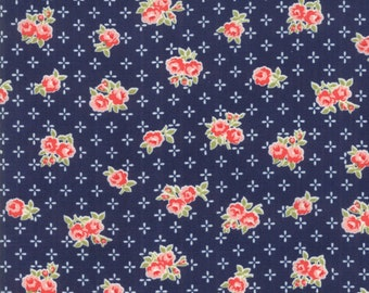 Early Bird - Bonnie Camille Fabric - 55191 15/ 5519115 - Early Bird Sweet Navy Floral