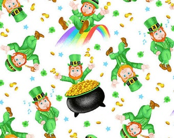 Pot Of Gold - Henry Glass - 9365-16 Multi - Tossed  Leprechaun