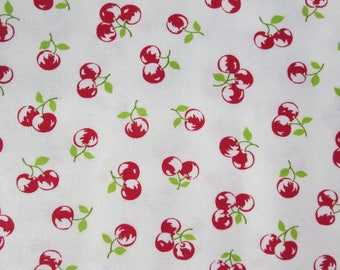 8.99 A Yard - Bonnie Camille The Good Life Fabric -  The Good Life Cream Red  Floral Orchard Natural 55158 29