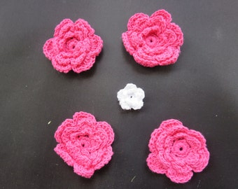 Cyber Sale - Crocheted Flower Bulk Medium Size Color Hot Pink - 25.  Great Value
