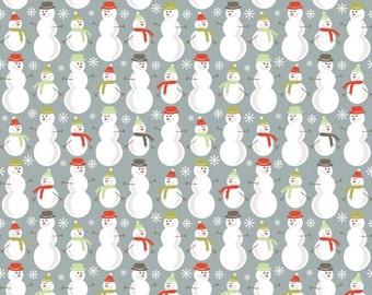 Merry Little Christmas Gray Snowman Fabric - Riley Blake