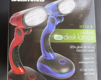 Set Of 2 Cordless Desk Lamps Portable LED Light JB6173