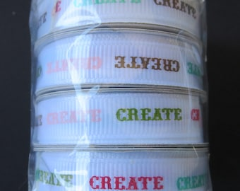 4 Spools Of American Craft Ribbon - 4 Feet On Each Spool - Create Grosgrain Ribbon
