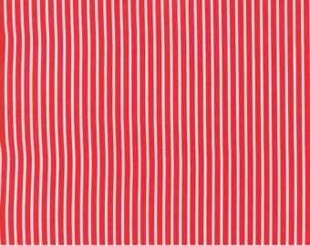 Smitten Red Pinstripes - Bonnie and Camille Fabric - 5517311 / 55173 11 - pinstripe