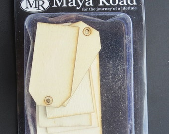 Maya Road Wooden Tags  8/Pkg