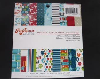 "American Crafts Paper Pad -Perfect Vacation - 6""x 6"" - 36 Sheets"