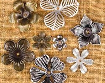 "Sunrise Sunset Mechanicals Metal Vintage Trinkets Mini Flowers .5"" To 1"", 8/Pkg - Steampunk"