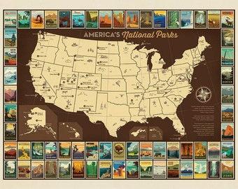 Riley Blake - National Parks Poster Panel USA MAP - P9157