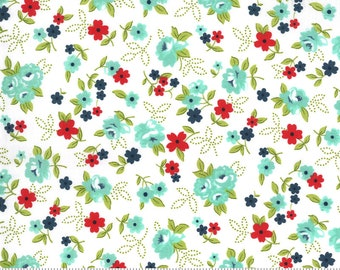 Sunday Stroll White Aqua 55222 11 Moda - Little Floral