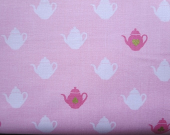 Wonderland  2 Tea Pot Pink Sparkle Fabric - SC5773  - Melissa Mortenson for Riley Blake