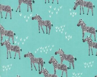 Safari Life Ash 20645 20 Moda - Stacy Iest Hsu Childrens Novelty Grazing Zebra Aqua