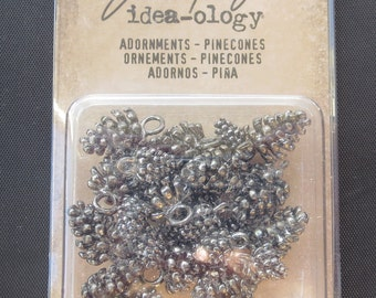 "Tim Holtz -Idea-Ology Pinecones Metal Adornments .5"" To .75"" 24/Pkg"