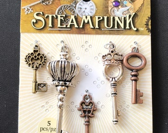 Steampunk Keys - 6 Keys Various Sizes - STEAM008
