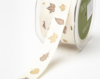 "May Arts Ivory 3/4"" Canvas Print Ribbon - Fall Leaves 3 Yards"