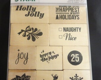 American Crafts Wooden Stamp - Hollyday