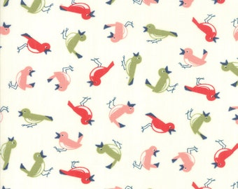 Early Bird - Bonnie Camille Fabric - 55192 17/ 5519217 - Early Bird Vintage Birds Cream