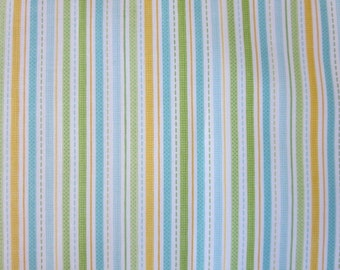 Great Deal! Snips And Snails Stripes Yellow Cotton Fabric
