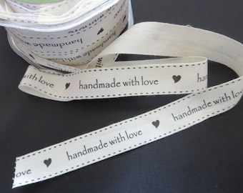 "May Arts Ivory and Black 3/4"" Canvas Print Ribbon - Handmade With Love - 30 Yard Spool"