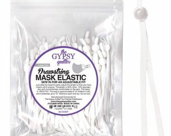 White Drawstring Mask Elastic 60 pieces to fit 30 Masks