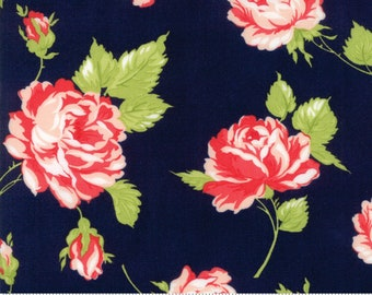 End of Bolt 1 1/4 Yards Bonnie Camille - Floral Rosy - Smitten Rosy Navy 55170 15 Moda