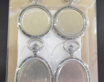 "Tim Holtz - Idea-Ology Metal Watch Cameos 1.25""X2"" & 1.5""X2.5"" 4/Pkg - TH93264"