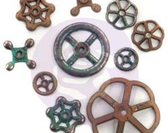 Finnabair Mechanicals Metal Embellishments Rusty Knobs 10/Pkg - 967130