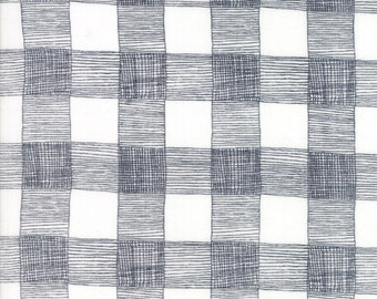 End of Bolt 2/3 Yard - 4826511 Farm Fresh - by Gingiber for Moda - Rustic Gingham in Cloud and Kettle 48265-11