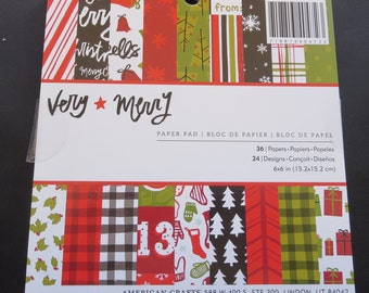 "American Crafts Very Merry Paper Pad - 6"" x 6"""