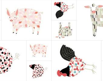 "Farm Fresh Panel 24""x 44"" in Multi-Colors - Gingiber for Moda Fabrics 48260-11 - 4826011"