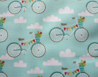 End of Bolt  Exactly 1.5 Yards - Riley Blake Fancy Bikes - C4061 - Teal