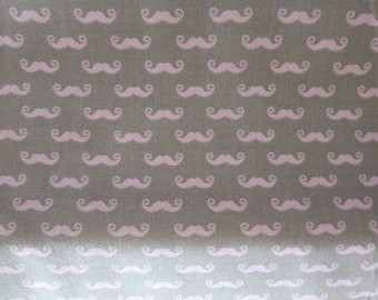 End of Bolt 1 Yard -  Geekly Chic Small PINK Mustache Fabric on a Gray background by Riley Blake. Very Cute! - Out Of Print